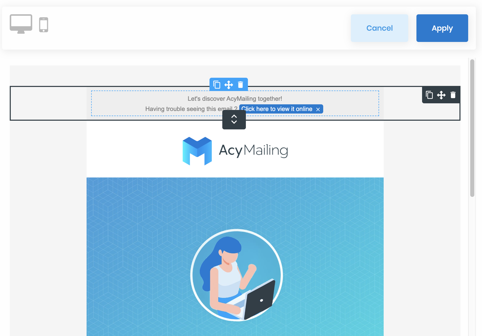 AcyMailing Editor - Container Selection
