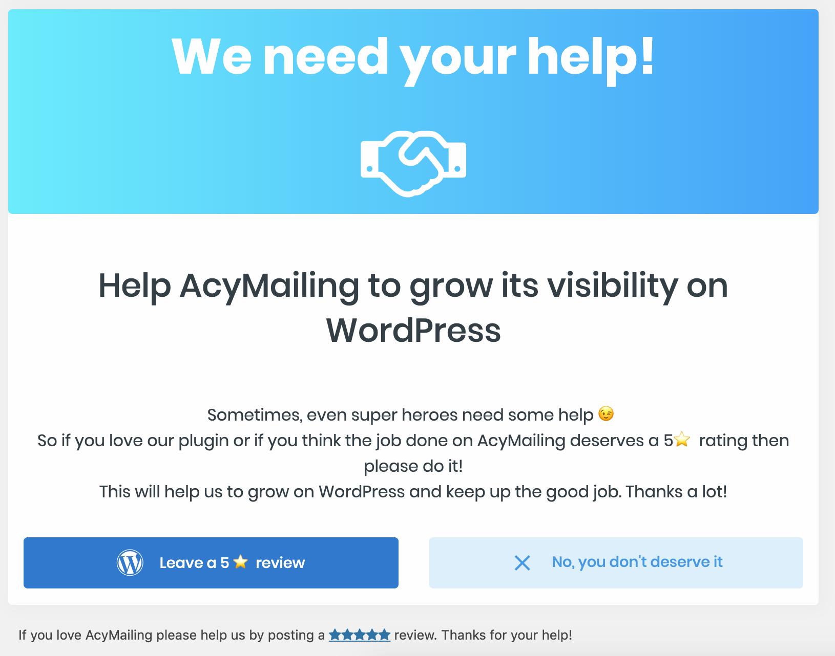 We need your help screenshot