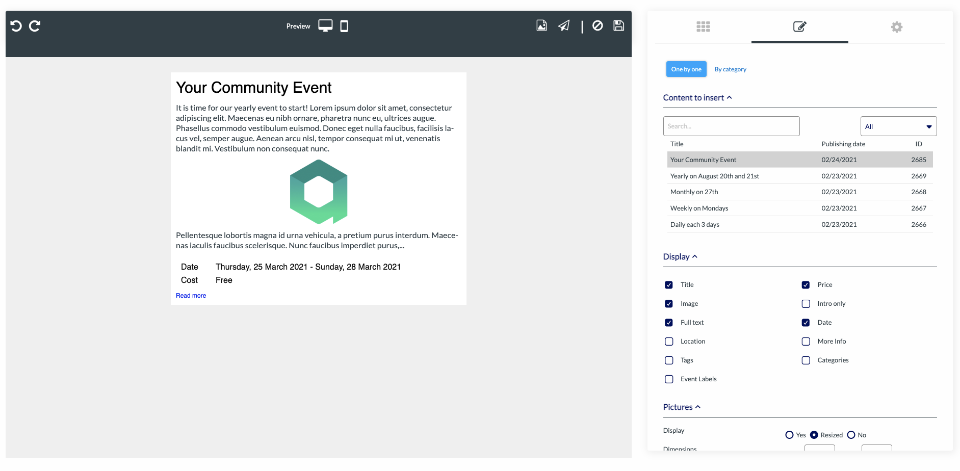 insert an event in your email modern event calendar