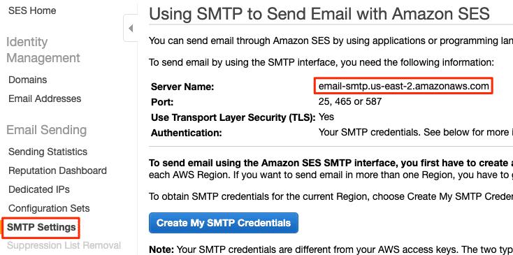 Amazon SES WordPress - SMTP Host