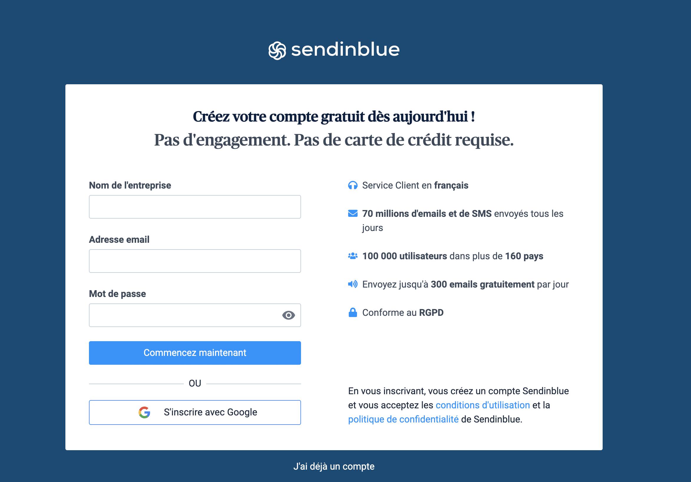 Sendinblue WordPress account creation